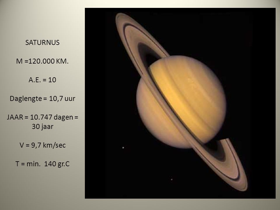 SATURNUS M =120.000 KM. A.E. = 10 Daglengte = 10,7 uur JAAR = 10.747 dagen = 30 jaar V = 9,7 km/sec T = min. 140 gr.C