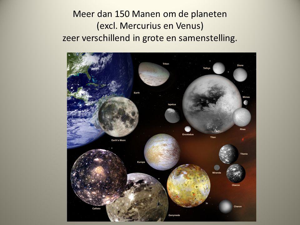 Meer dan 150 Manen om de planeten (excl. Mercurius en Venus) zeer verschillend in grote en samenstelling.