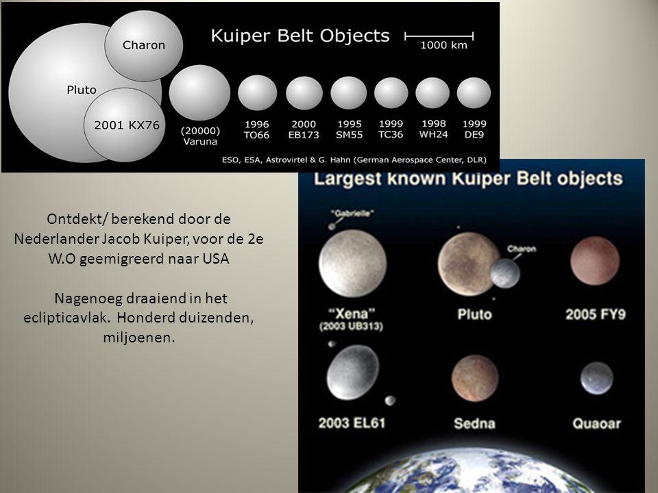 Ontdekt/ berekend door de Nederlander Jacob Kuiper, voor de 2e W.O geemigreerd naar USA Nagenoeg draaiend in het eclipticavlak. Honderd duizenden, mil