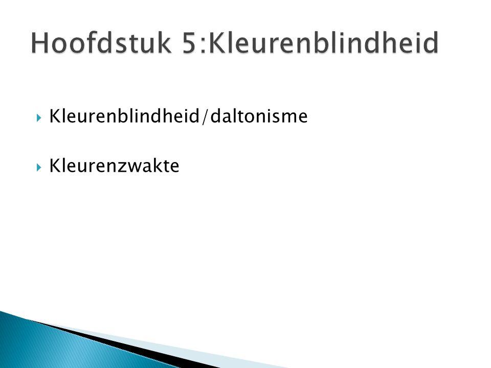  Kleurenblindheid/daltonisme  Kleurenzwakte