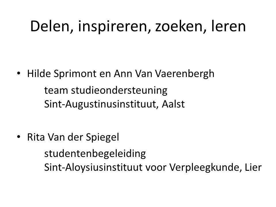 Delen, inspireren, zoeken, leren Hilde Sprimont en Ann Van Vaerenbergh team studieondersteuning Sint-Augustinusinstituut, Aalst Rita Van der Spiegel studentenbegeleiding Sint-Aloysiusinstituut voor Verpleegkunde, Lier