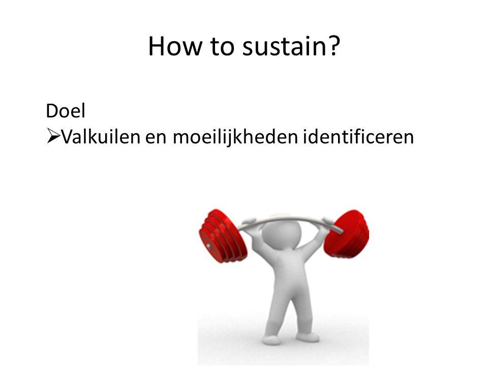 How to sustain? Doel  Valkuilen en moeilijkheden identificeren