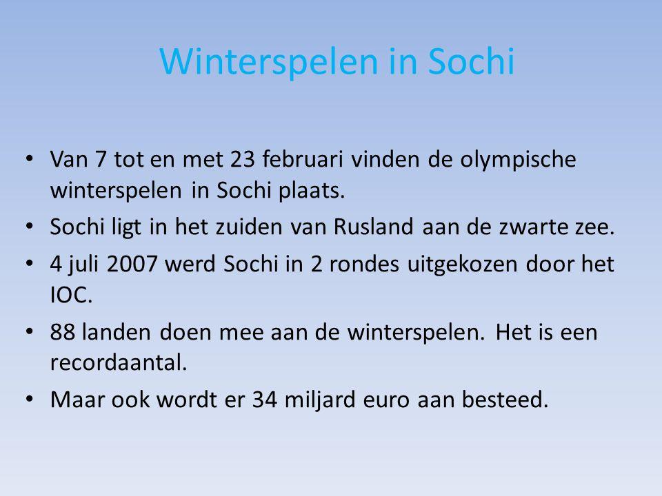 Winterspelen in Sochi Van 7 tot en met 23 februari vinden de olympische winterspelen in Sochi plaats.