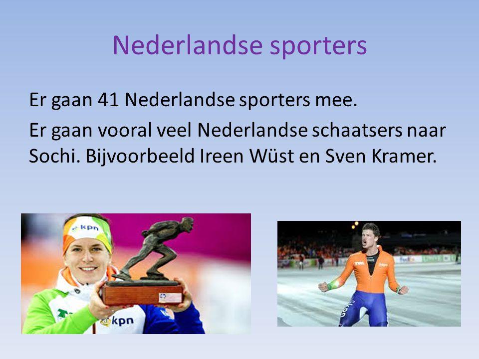 Nederlandse sporters Er gaan 41 Nederlandse sporters mee. Er gaan vooral veel Nederlandse schaatsers naar Sochi. Bijvoorbeeld Ireen Wüst en Sven Krame