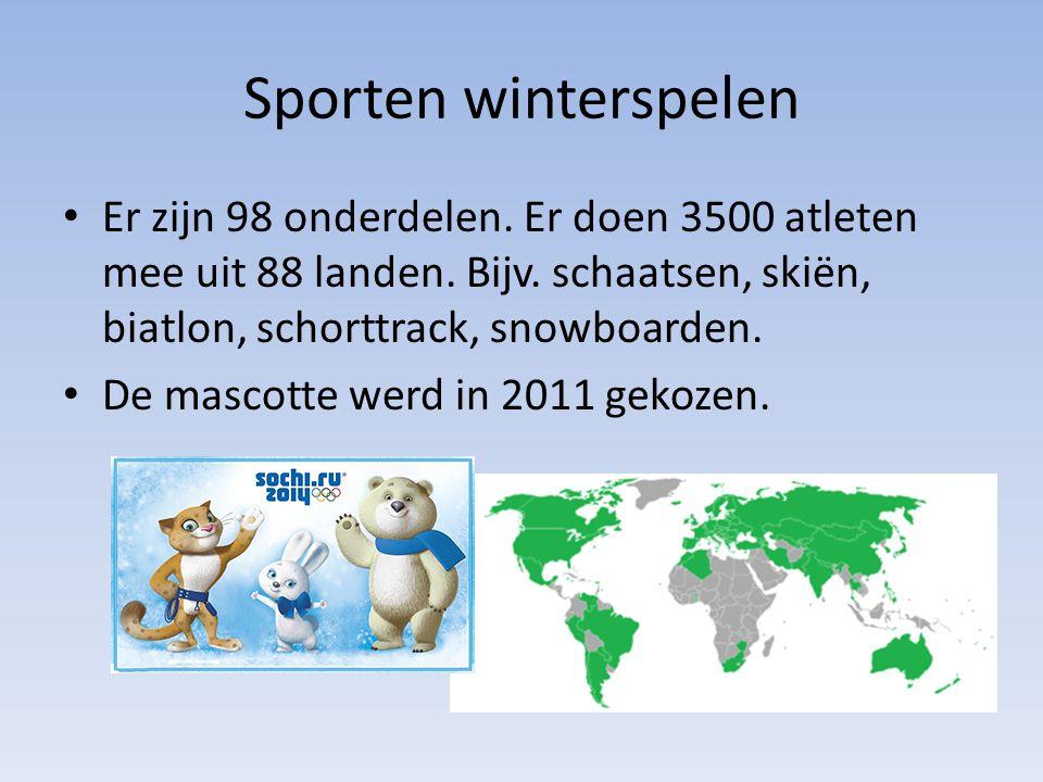 Sporten winterspelen Er zijn 98 onderdelen. Er doen 3500 atleten mee uit 88 landen. Bijv. schaatsen, skiën, biatlon, schorttrack, snowboarden. De masc