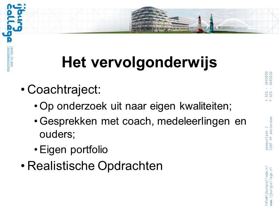 Het vervolgonderwijs Coachtraject: Op onderzoek uit naar eigen kwaliteiten; Gesprekken met coach, medeleerlingen en ouders; Eigen portfolio Realistische Opdrachten