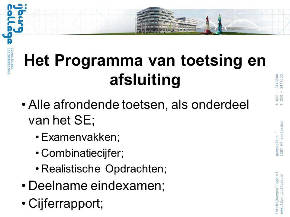 Het Programma van toetsing en afsluiting Alle afrondende toetsen, als onderdeel van het SE; Examenvakken; Combinatiecijfer; Realistische Opdrachten; Deelname eindexamen; Cijferrapport;