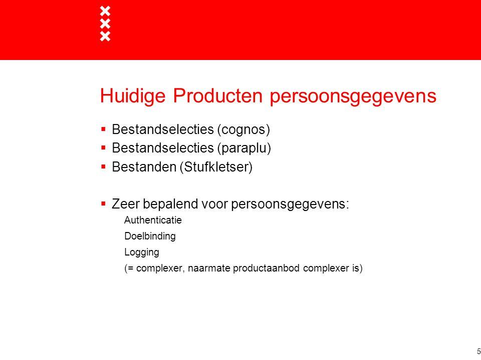 Huidige Producten persoonsgegevens  Bestandselecties (cognos)  Bestandselecties (paraplu)  Bestanden (Stufkletser)  Zeer bepalend voor persoonsgegevens: Authenticatie Doelbinding Logging (= complexer, naarmate productaanbod complexer is) 5
