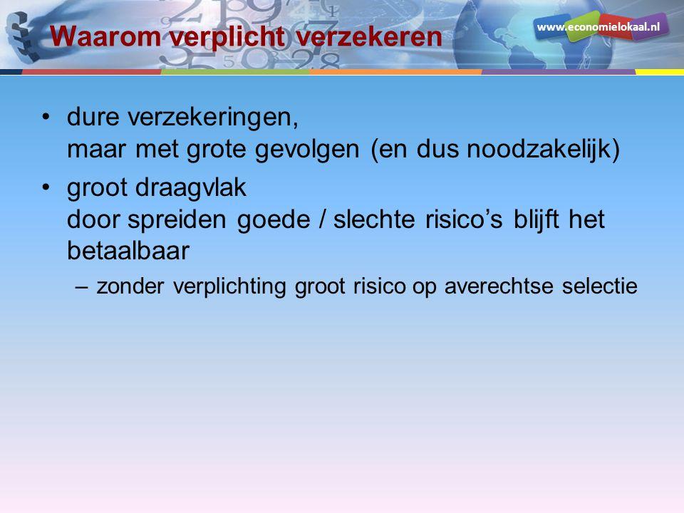 www.economielokaal.nl Waarom verplicht verzekeren dure verzekeringen, maar met grote gevolgen (en dus noodzakelijk) groot draagvlak door spreiden goede / slechte risico's blijft het betaalbaar –zonder verplichting groot risico op averechtse selectie