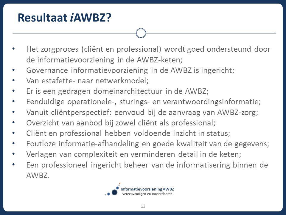 12 Resultaat i AWBZ? Het zorgproces (cliënt en professional) wordt goed ondersteund door de informatievoorziening in de AWBZ-keten; Governance informa