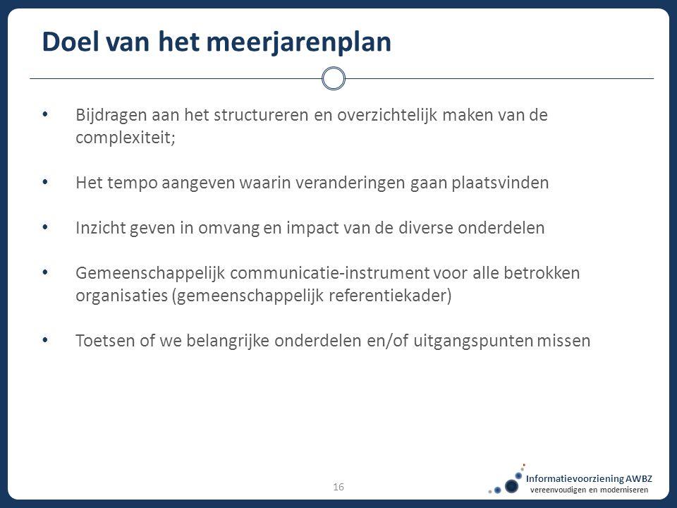 Informatievoorziening AWBZ vereenvoudigen en moderniseren 16 Doel van het meerjarenplan Bijdragen aan het structureren en overzichtelijk maken van de