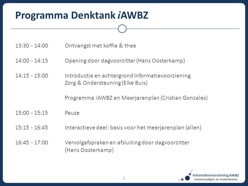 2 Programma Denktank i AWBZ 13:30 - 14:00Ontvangst met koffie & thee 14:00 - 14:15Opening door dagvoorzitter (Hans Oosterkamp) 14:15 - 15:00Introducti