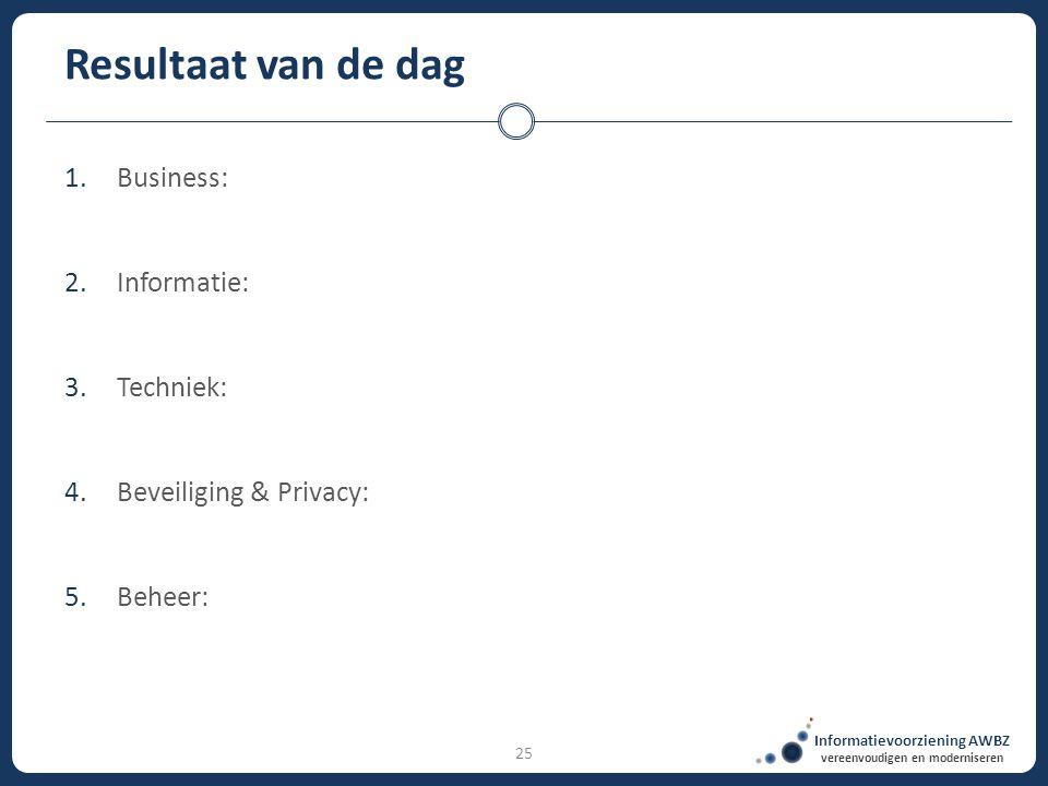 Informatievoorziening AWBZ vereenvoudigen en moderniseren 25 Resultaat van de dag 1.Business: 2.Informatie: 3.Techniek: 4.Beveiliging & Privacy: 5.Beh