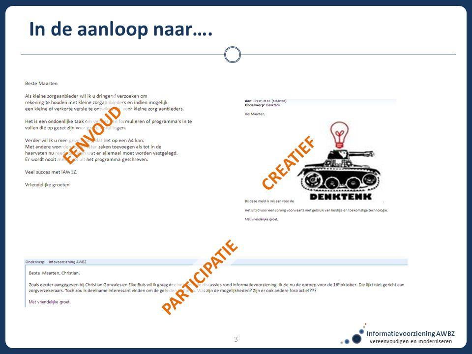 Informatievoorziening AWBZ vereenvoudigen en moderniseren 3 In de aanloop naar…. EENVOUD CREATIEF PARTICIPATIE