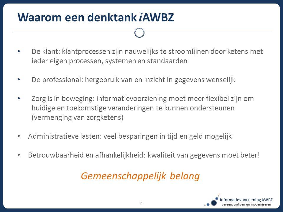 Informatievoorziening AWBZ vereenvoudigen en moderniseren 4 Waarom een denktank i AWBZ De klant: klantprocessen zijn nauwelijks te stroomlijnen door k