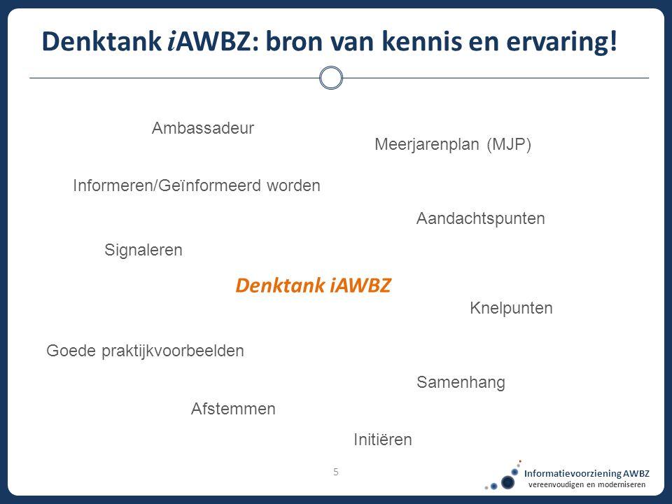 5 Informatievoorziening AWBZ vereenvoudigen en moderniseren Denktank i AWBZ: bron van kennis en ervaring! Informeren/Geïnformeerd worden Signaleren Af