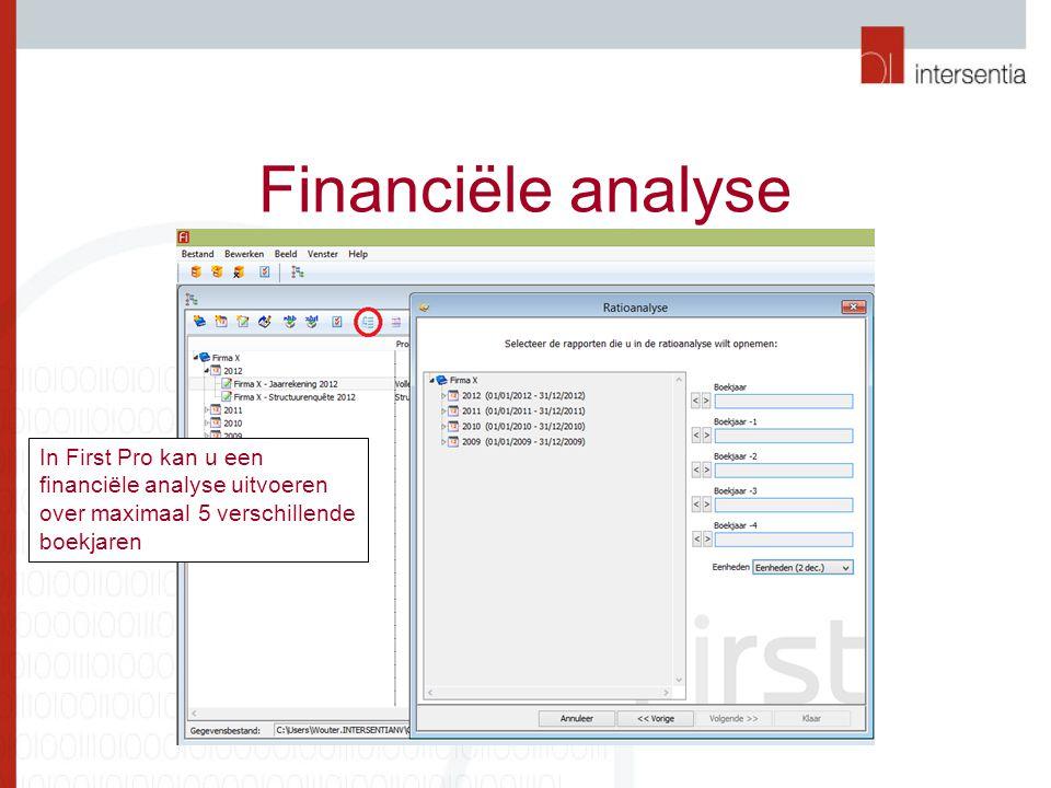 Financiële analyse In First Pro kan u een financiële analyse uitvoeren over maximaal 5 verschillende boekjaren