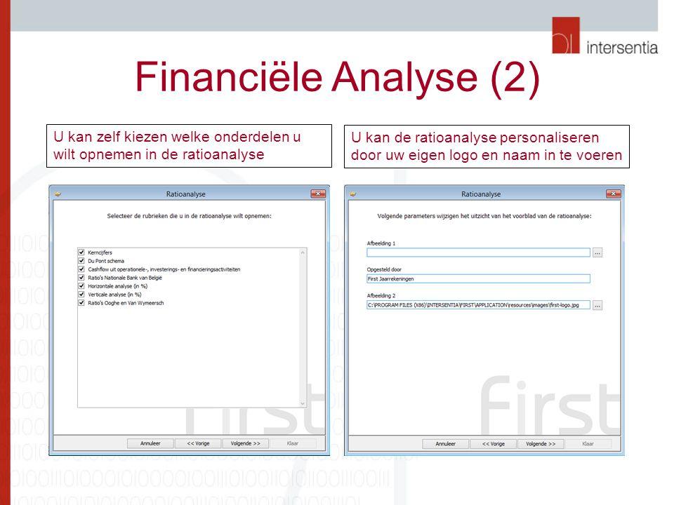 Financiële Analyse (2) U kan zelf kiezen welke onderdelen u wilt opnemen in de ratioanalyse U kan de ratioanalyse personaliseren door uw eigen logo en naam in te voeren
