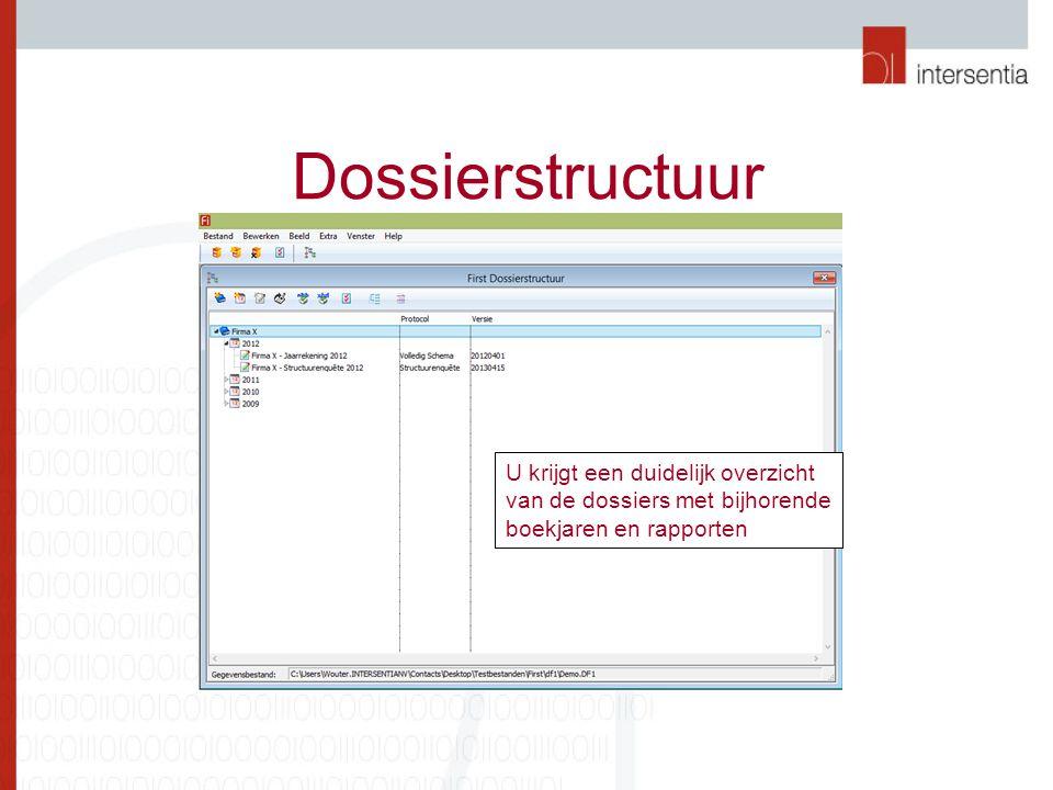 Dossierstructuur U krijgt een duidelijk overzicht van de dossiers met bijhorende boekjaren en rapporten