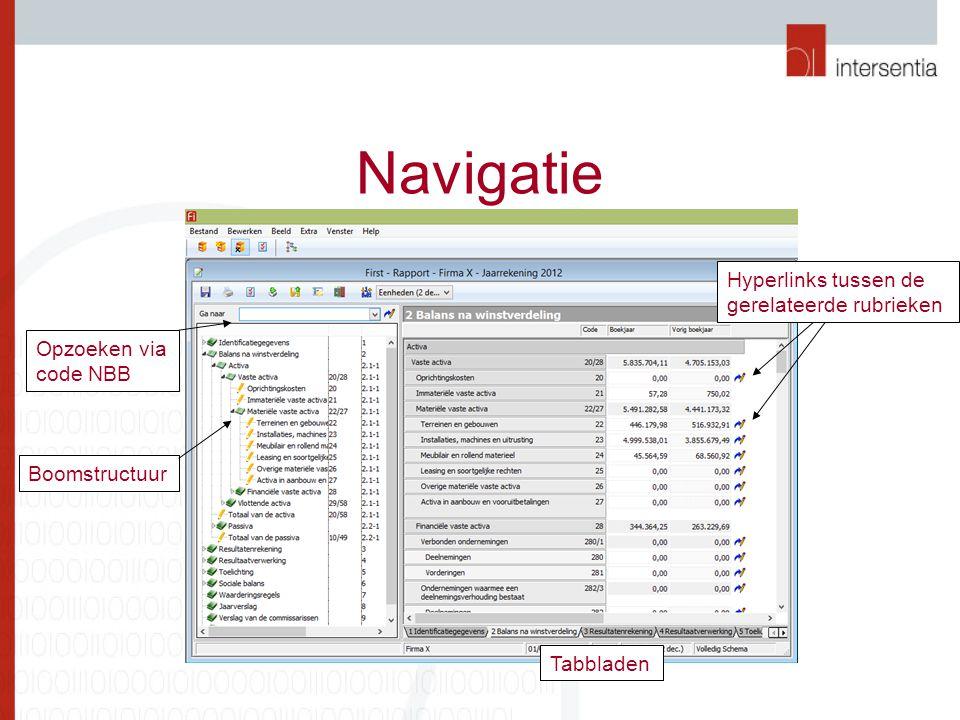 Navigatie Opzoeken via code NBB Boomstructuur Tabbladen Hyperlinks tussen de gerelateerde rubrieken
