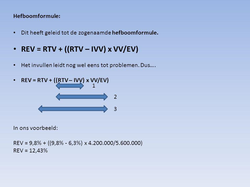 Hefboomformule: Dit heeft geleid tot de zogenaamde hefboomformule.