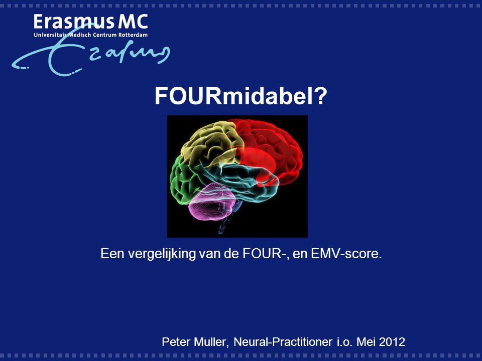 Vraagstelling:  Geeft de neurologische overdracht tussen verpleegkundigen met gebruik van de FOUR-score meer uniformiteit dan met gebruik van de EMV-score .