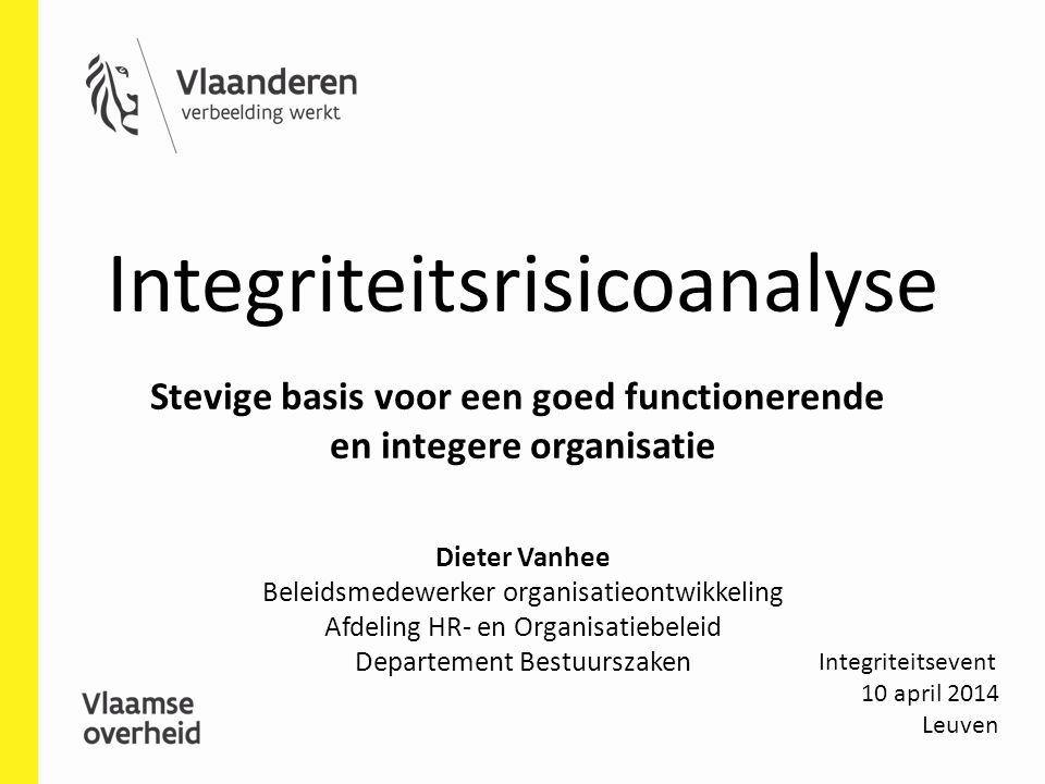 Integriteitsrisicoanalyse Integriteitsevent 10 april 2014 Leuven Stevige basis voor een goed functionerende en integere organisatie Dieter Vanhee Bele