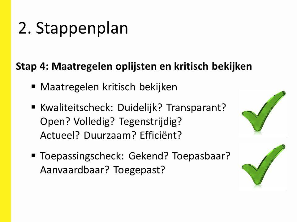 Stap 4: Maatregelen oplijsten en kritisch bekijken  Maatregelen kritisch bekijken  Kwaliteitscheck: Duidelijk? Transparant? Open? Volledig? Tegenstr