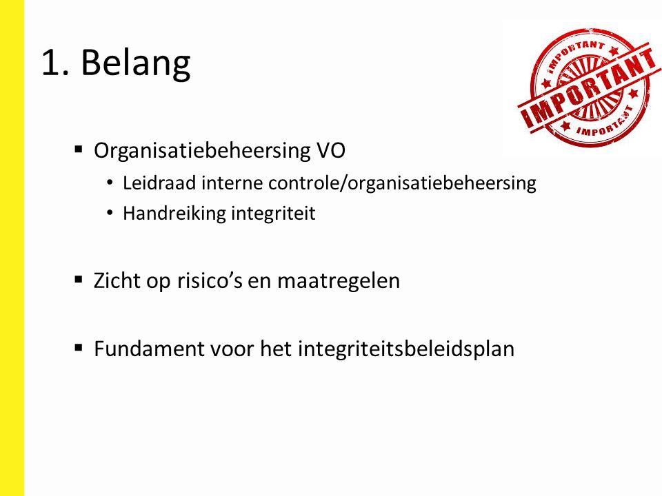 1. Belang  Organisatiebeheersing VO Leidraad interne controle/organisatiebeheersing Handreiking integriteit  Zicht op risico's en maatregelen  Fund