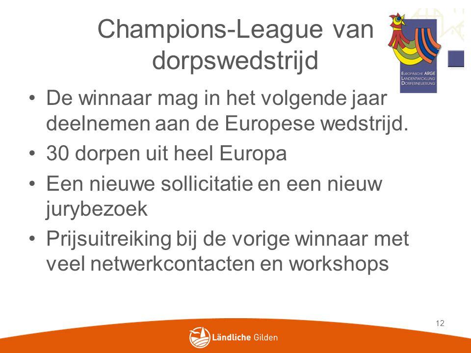 Champions-League van dorpswedstrijd De winnaar mag in het volgende jaar deelnemen aan de Europese wedstrijd.