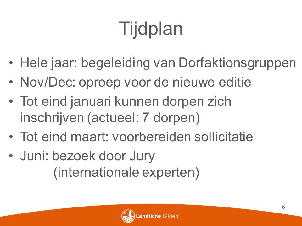 Tijdplan Hele jaar: begeleiding van Dorfaktionsgruppen Nov/Dec: oproep voor de nieuwe editie Tot eind januari kunnen dorpen zich inschrijven (actueel: 7 dorpen) Tot eind maart: voorbereiden sollicitatie Juni: bezoek door Jury (internationale experten) 6