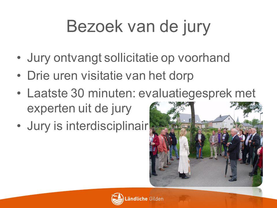 Bezoek van de jury Jury ontvangt sollicitatie op voorhand Drie uren visitatie van het dorp Laatste 30 minuten: evaluatiegesprek met experten uit de jury Jury is interdisciplinair 9