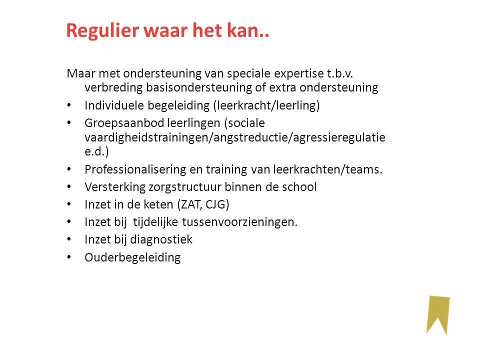 Maar met ondersteuning van speciale expertise t.b.v. verbreding basisondersteuning of extra ondersteuning Individuele begeleiding (leerkracht/leerling