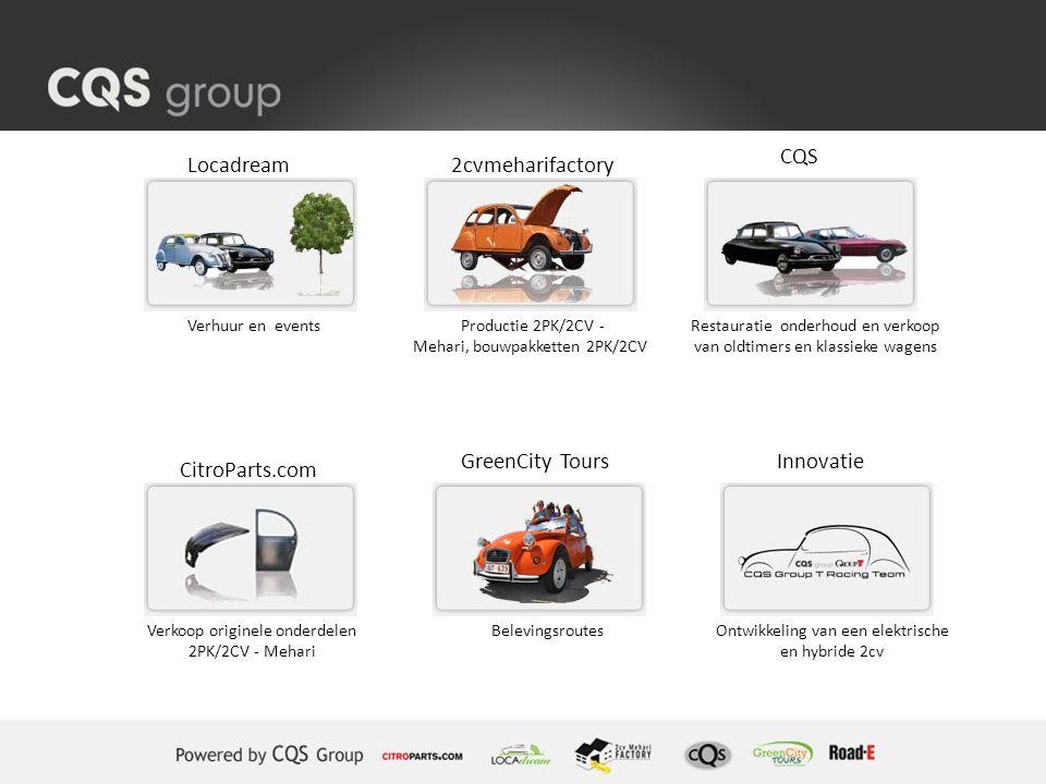 Locadream2cvmeharifactory CQS CitroParts.com GreenCity ToursInnovatie Verhuur en events Verkoop originele onderdelen 2PK/2CV - Mehari Productie 2PK/2C