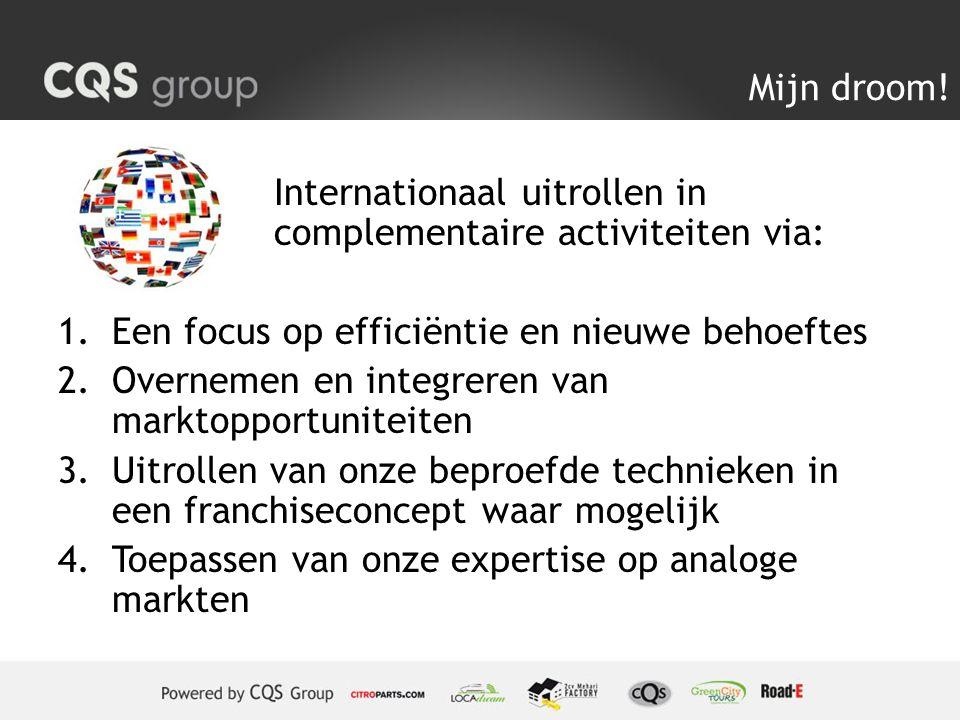 Mijn droom! Internationaal uitrollen in complementaire activiteiten via: 1.Een focus op efficiëntie en nieuwe behoeftes 2.Overnemen en integreren van