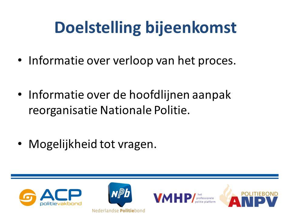 Doelstelling bijeenkomst Informatie over verloop van het proces. Informatie over de hoofdlijnen aanpak reorganisatie Nationale Politie. Mogelijkheid t