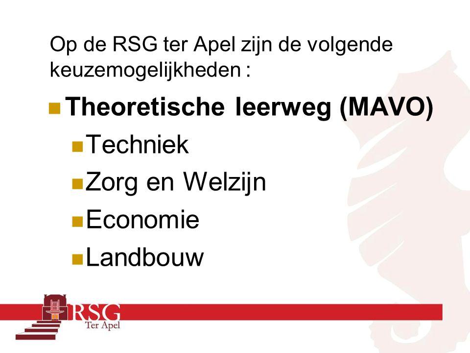 Op de RSG ter Apel zijn de volgende keuzemogelijkheden : Theoretische leerweg (MAVO) Techniek Zorg en Welzijn Economie Landbouw