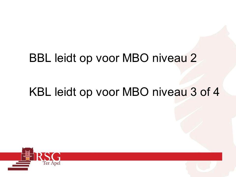 BBL leidt op voor MBO niveau 2 KBL leidt op voor MBO niveau 3 of 4
