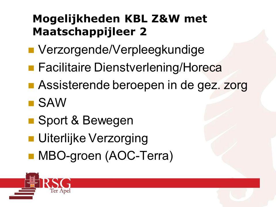 Mogelijkheden KBL Z&W met Maatschappijleer 2 Verzorgende/Verpleegkundige Facilitaire Dienstverlening/Horeca Assisterende beroepen in de gez.