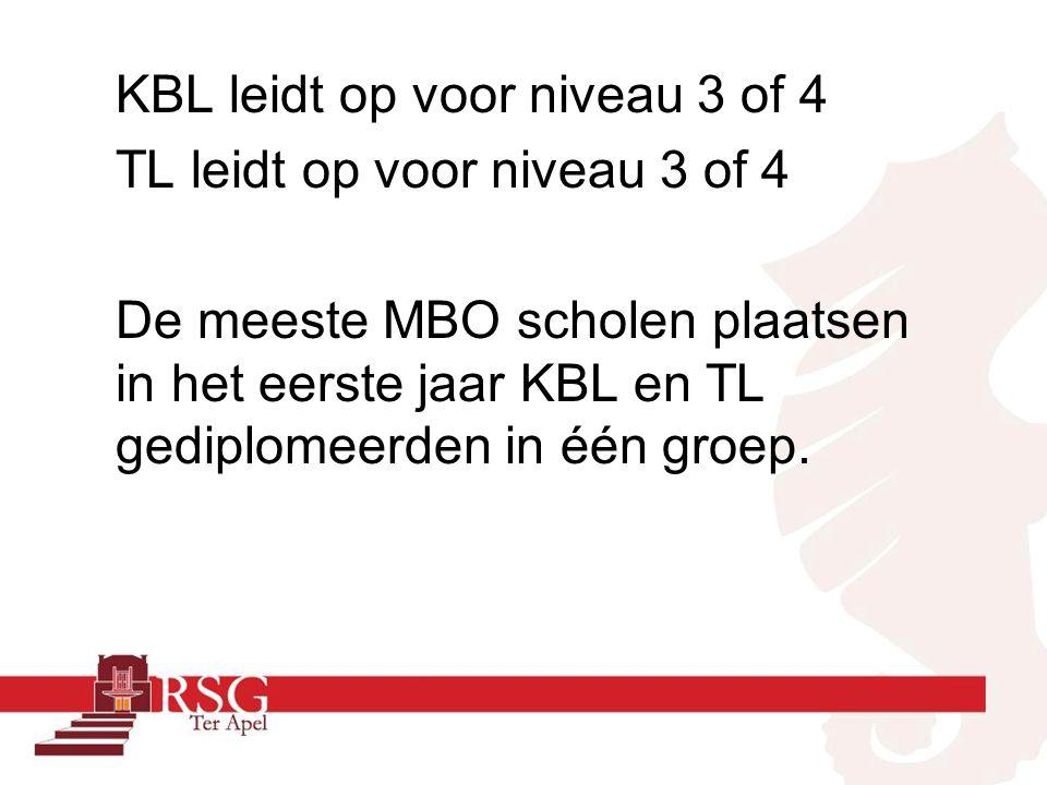 KBL leidt op voor niveau 3 of 4 TL leidt op voor niveau 3 of 4 De meeste MBO scholen plaatsen in het eerste jaar KBL en TL gediplomeerden in één groep.