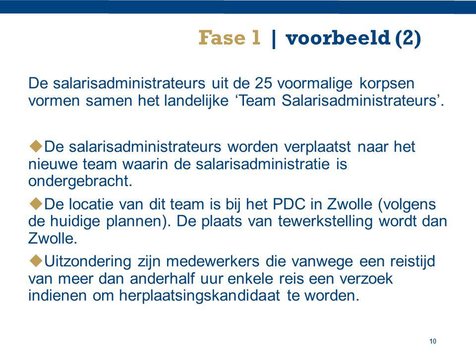 10 Fase 1 | voorbeeld (2) De salarisadministrateurs uit de 25 voormalige korpsen vormen samen het landelijke 'Team Salarisadministrateurs'.