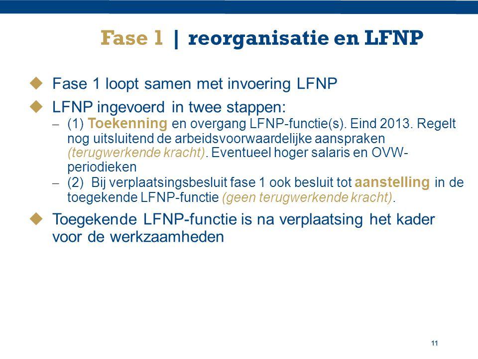11 Fase 1 | reorganisatie en LFNP  Fase 1 loopt samen met invoering LFNP  LFNP ingevoerd in twee stappen: – (1) Toekenning en overgang LFNP-functie(s).