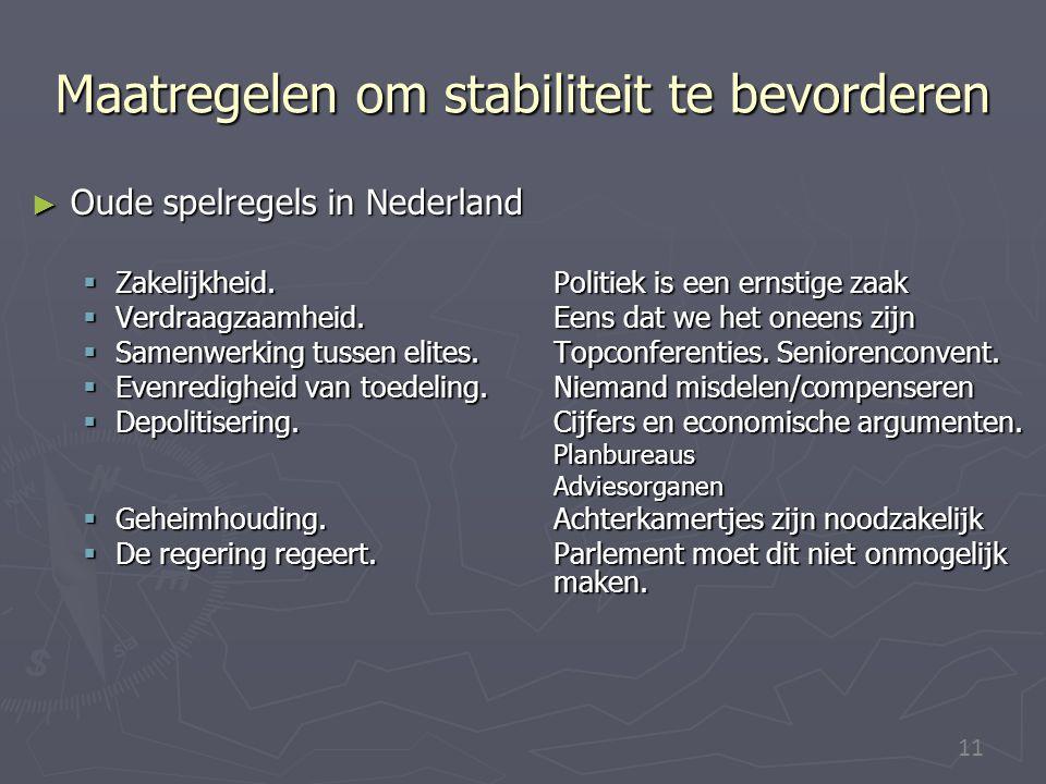 11 Maatregelen om stabiliteit te bevorderen ► Oude spelregels in Nederland  Zakelijkheid. Politiek is een ernstige zaak  Verdraagzaamheid. Eens dat