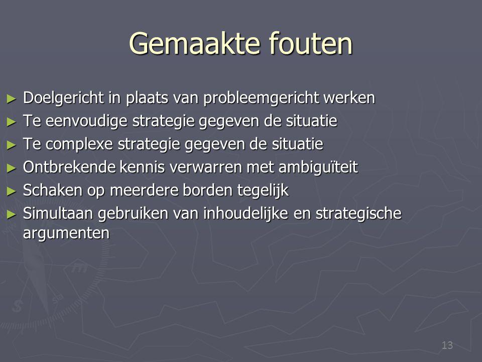 13 Gemaakte fouten ► Doelgericht in plaats van probleemgericht werken ► Te eenvoudige strategie gegeven de situatie ► Te complexe strategie gegeven de