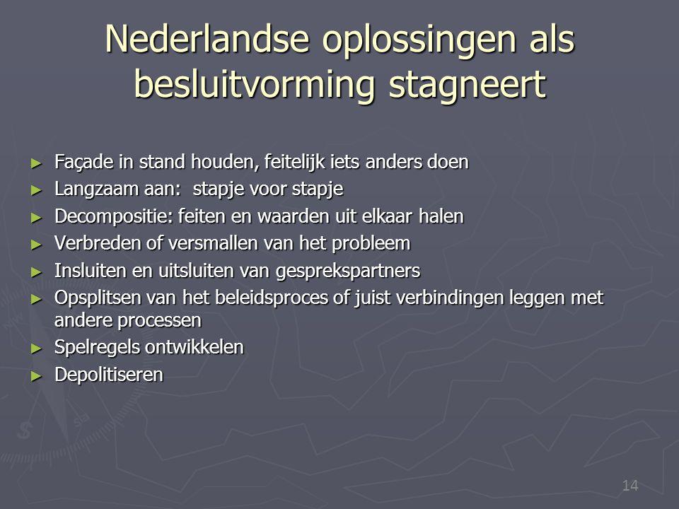14 Nederlandse oplossingen als besluitvorming stagneert ► Façade in stand houden, feitelijk iets anders doen ► Langzaam aan: stapje voor stapje ► Deco