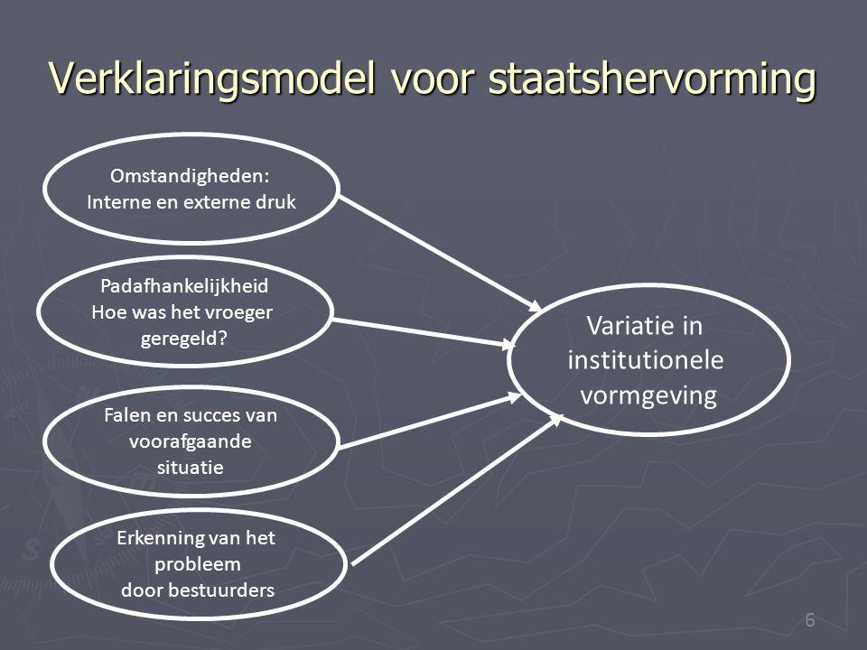6 Verklaringsmodel voor staatshervorming Variatie in institutionele vormgeving Omstandigheden: Interne en externe druk Padafhankelijkheid Hoe was het