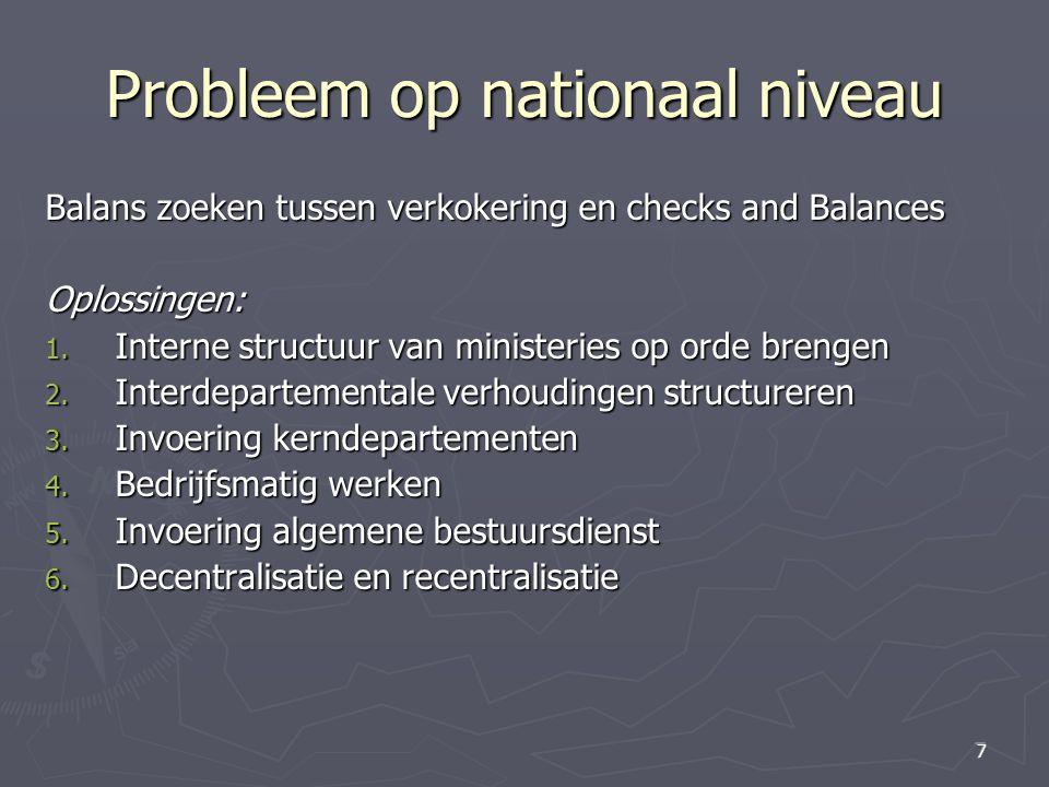 7 7 Probleem op nationaal niveau Balans zoeken tussen verkokering en checks and Balances Oplossingen: 1. Interne structuur van ministeries op orde bre