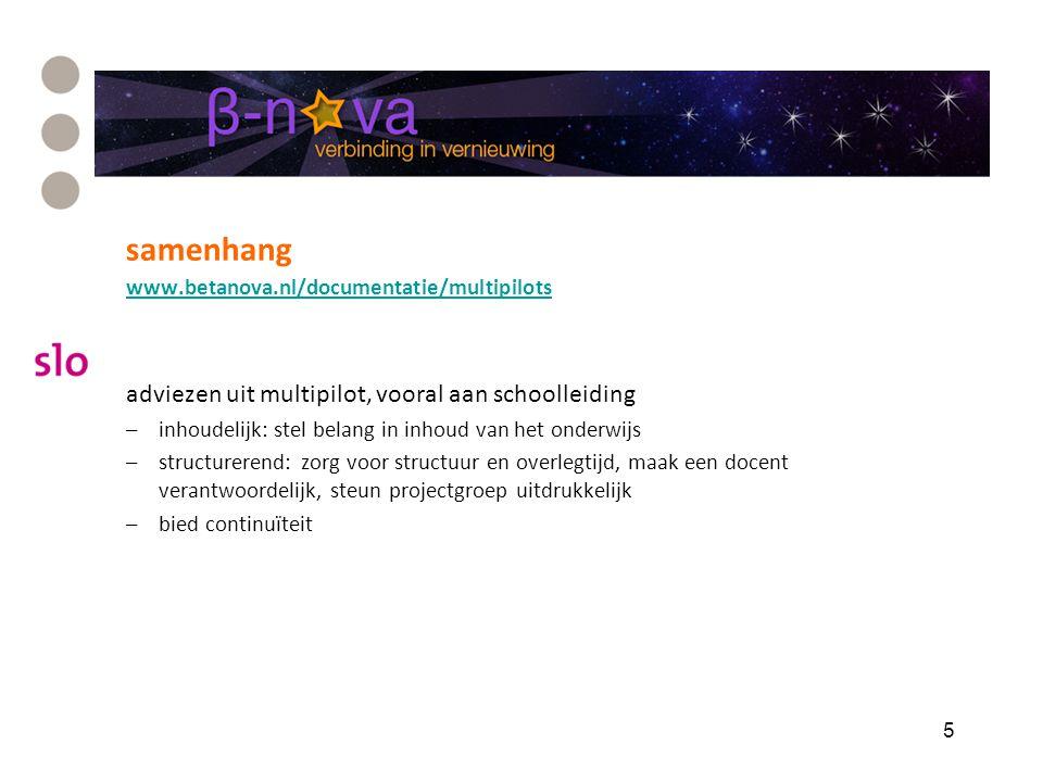 samenhang www.betanova.nl/documentatie/multipilots adviezen uit multipilot, vooral aan schoolleiding –inhoudelijk: stel belang in inhoud van het onder