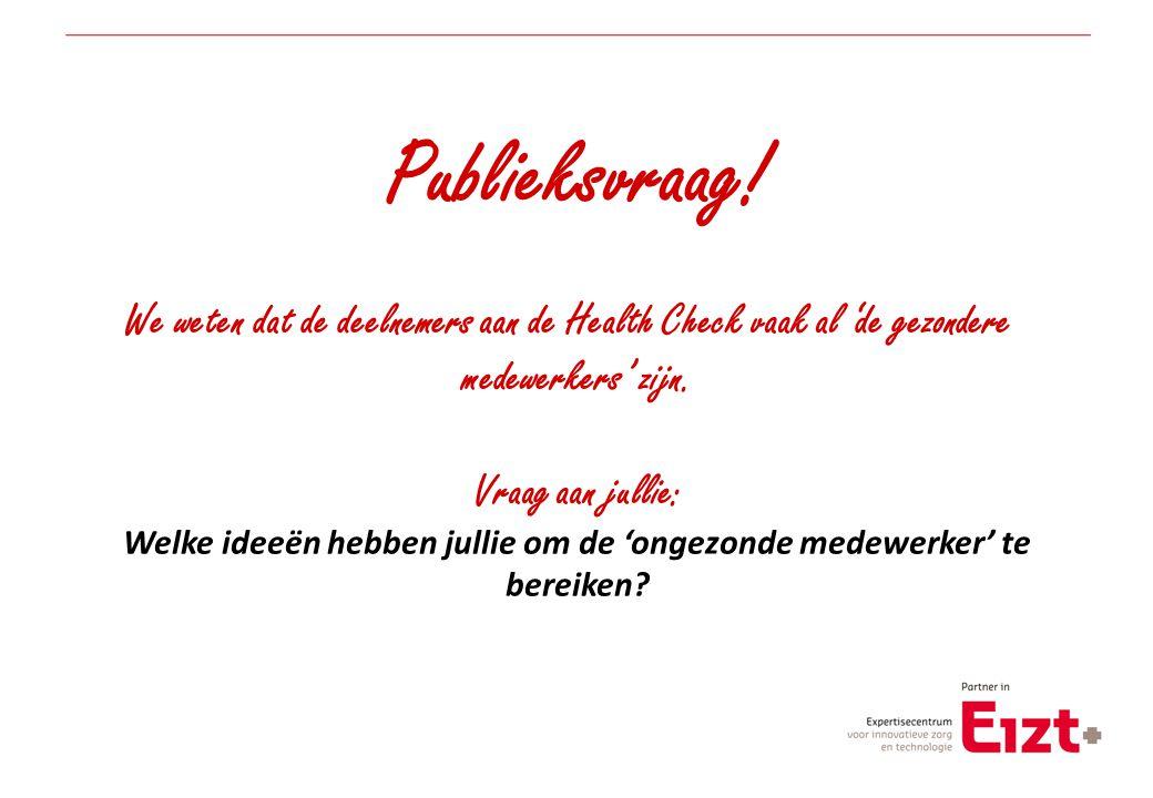 Publieksvraag! We weten dat de deelnemers aan de Health Check vaak al 'de gezondere medewerkers' zijn. Vraag aan jullie: Welke ideeën hebben jullie om