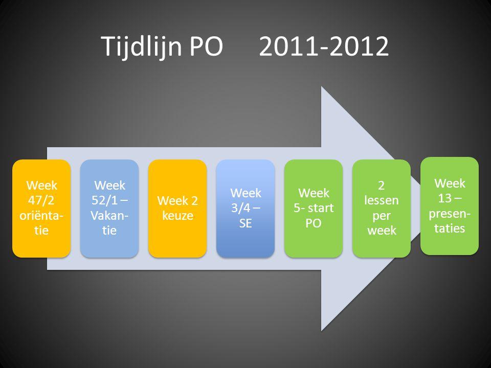 Tijdlijn PO 2011-2012 Week 47/2 oriënta- tie Week 52/1 – Vakan- tie Week 2 keuze Week 3/4 – SE Week 5- start PO 2 lessen per week Week 13 – presen- taties
